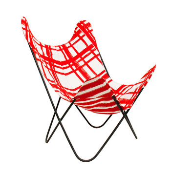nomad india black ajara chair red chowkad print cover front