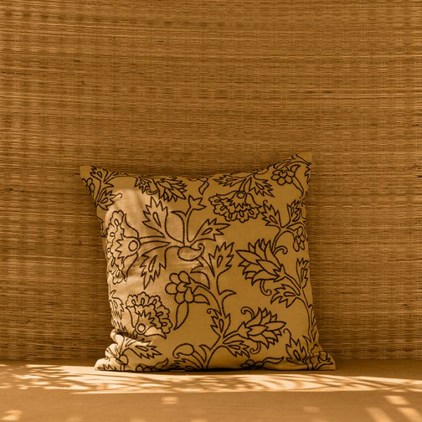 nomad-india-kusum-ochre-black-cushion-cover-main