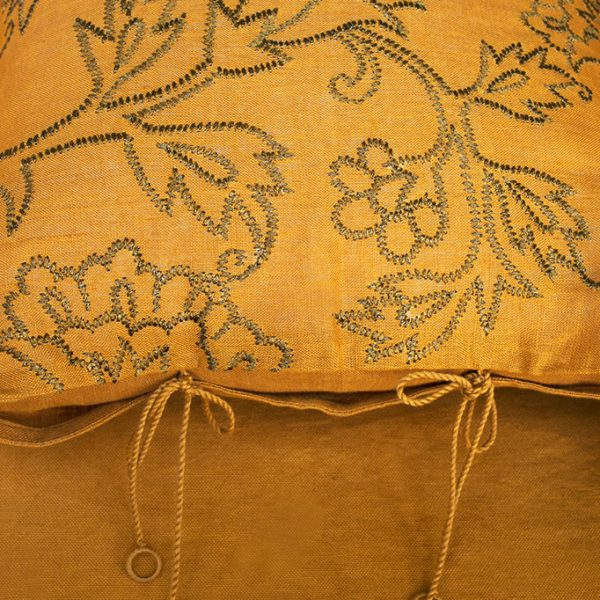 nomad-india-kusum-ochre-zari-cushion-cover-detail
