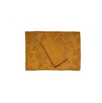 nomad-india-kusum-ochre-zari-placemat-napkin
