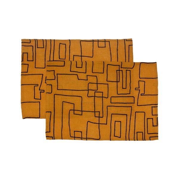 nomad-india-vanya-ochre-black-placemat
