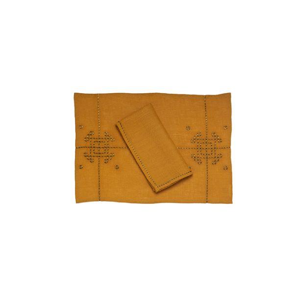 nomad-india-vayu-ochre-zari-placemat-napkin