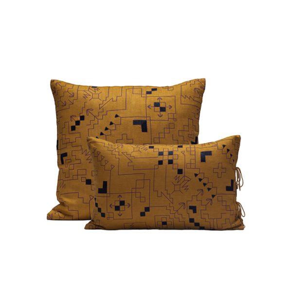 nomad-india-ryka-ochre-black-cushion-cover